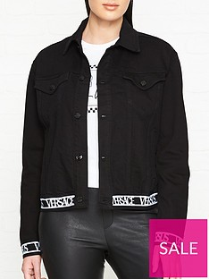 versus-versace-logo-trim-denim-jacket--black