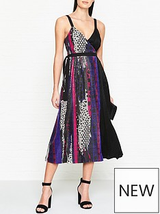 versus-versace-woven-sequin-pattern-dress-multi