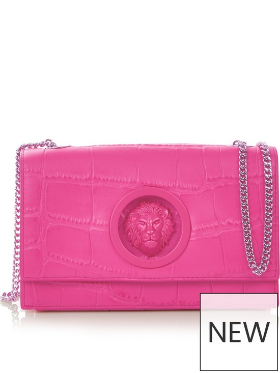 2add941327 VERSUS VERSACE Lion s Head Croc Effect Cross-Body Bag - Pink