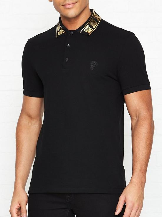 54bcd9043 VERSACE COLLECTION Baroque Print Collar Polo Shirt - Black