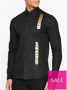 c27e16fc8 VERSACE COLLECTION Logo Detail Print Shirt - Black