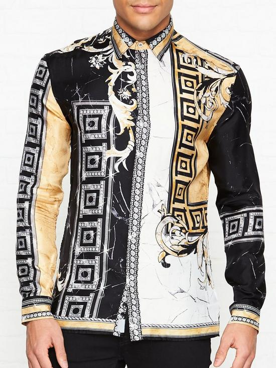 bfbb8cceff42e VERSACE COLLECTION Silk Marble Print Shirt - Black Gold