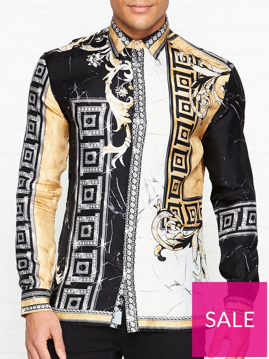 35371d99e0 VERSACE COLLECTION Silk Marble Print Shirt - Black/Gold | very.co.uk