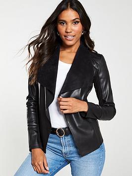 v-by-very-waterfall-pu-jacket-black