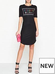 versus-versace-logo-print-short-sleeve-dress-black