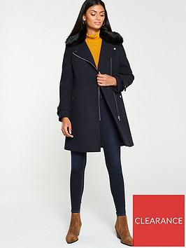 v-by-very-faux-fur-trim-asymmetric-zip-coat-navy