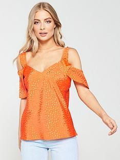 v-by-very-cold-shoulder-spotted-top-orange
