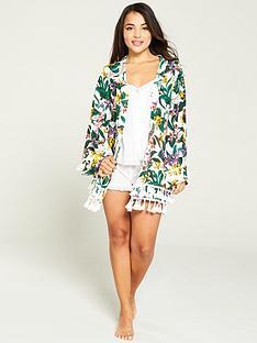 92246669c7e V by Very Printed Pom Pom Kimono - Tropical