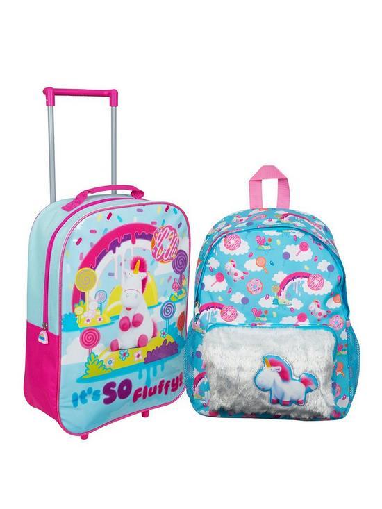ebdfeade784e Minions Fluffy Unicorn 16inch Backpack   Trolley Bag Set