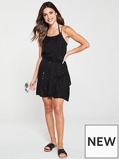 v-by-very-tie-shoulder-sequin-detail-beach-dress-black