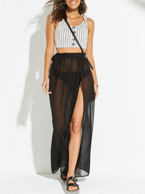 v-by-very-chiffon-tie-side-maxi-beach-skirt-black