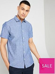 selected-homme-regular-linen-classic-short-sleeve-shirt-blue