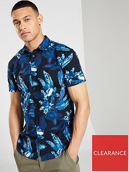 selected-homme-asher-slim-printed-short-sleeved-shirt-navy