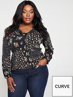 oasis-curve-ditsy-spot-button-jersey-blouse-black