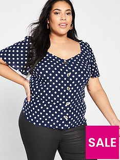 oasis-curve-spot-button-through-angel-sleeve-top-blue