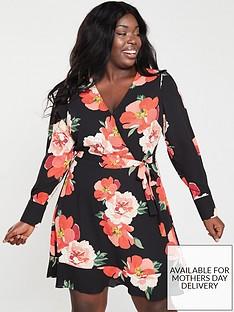 oasis-curve-bold-bloom-v-neck-skater-dress-multi-black