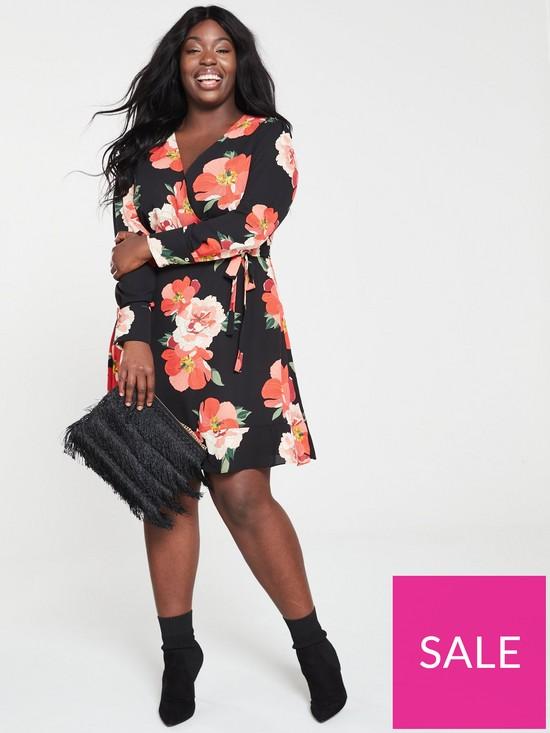 62da835178cb ... Oasis Curve Bold Bloom V-neck Skater Dress - Multi Black. View larger