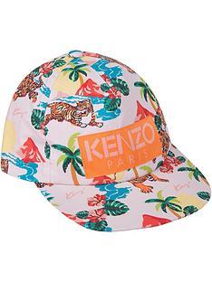 kenzo-girls-hawai-tiger-print-cap-pink-multi