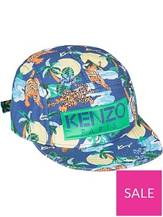 kenzo-boys-hawai-tiger-print-cap-blue-multi