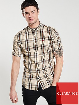 river-island-short-sleeve-tan-check-shirt
