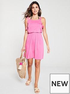 v-by-very-shirred-waist-tie-shoulder-jersey-beach-dress-pink