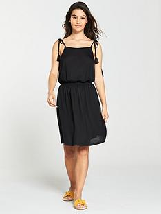 v-by-very-shirred-waist-jersey-beach-dress-black