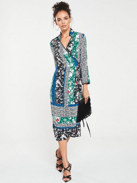8406ba64654 Miss Selfridge Spliced Wrap Midi Dress - Mixed Print