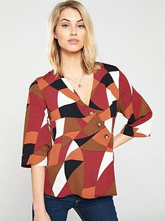 wallis-colourblock-asymmetric-button-top-rust