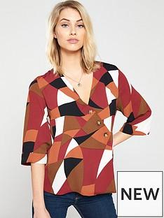 wallis-colourblock-asymmetric-button-top-rust