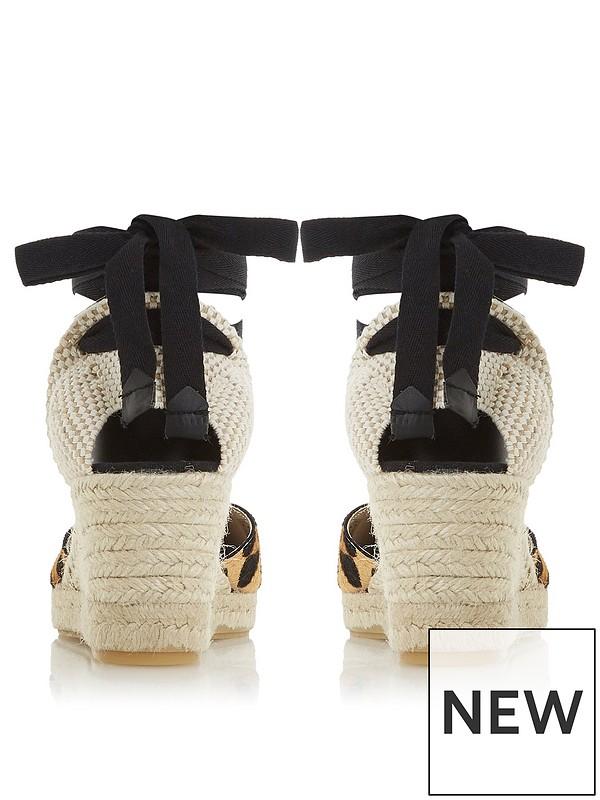 e004cb1f43097 Dune London Kasey Ankle Strap Espadrille Wedge - Black   very.co.uk