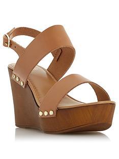 4f8ea1025a86 Dune London Kimmey Wooden Platform Wedge Sandals - Black