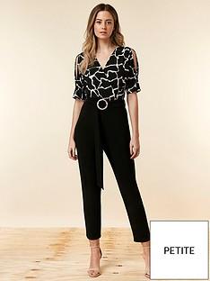 2c7420613d Wallis Petite Print Top Jumpsuit - Black