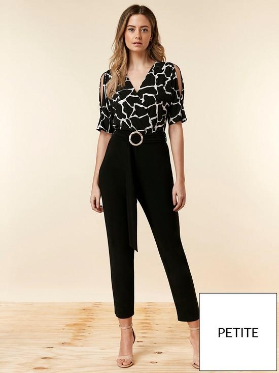 031eef3bc5f2 Wallis Petite Print Top Jumpsuit - Black