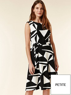 Wallis Petite Geo Print Dress - Black   White 826e07355