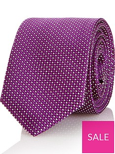 hugo-mens-micro-pattern-silk-tie-purple