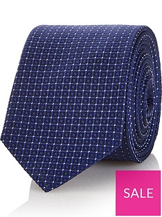 hugo-mens-micro-square-silk-tie-navy