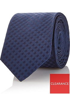 hugo-mens-check-pattern-silk-tie-navy