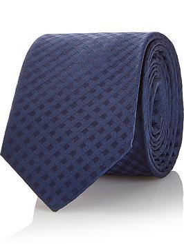 hugo-mens-check-pattern-silk-tie-navy
