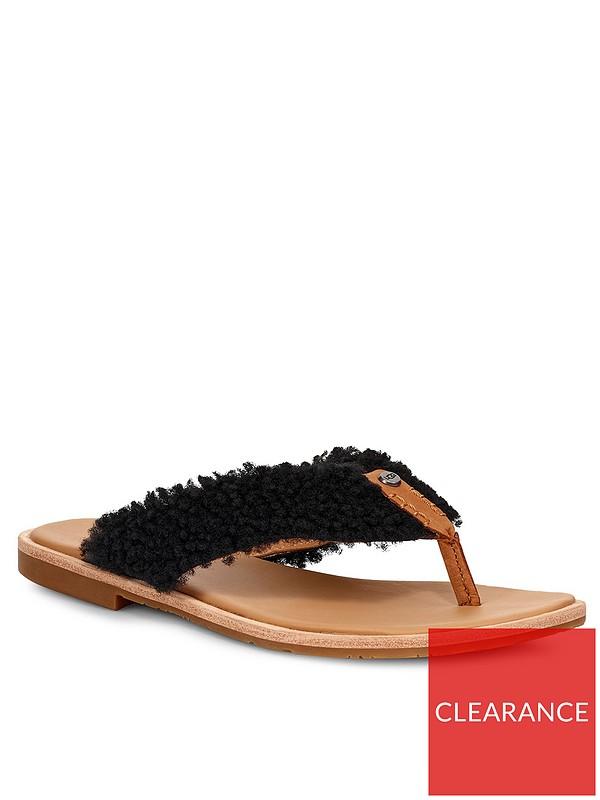 770c41a647 Alicia Sheepskin Flip Flops - Black