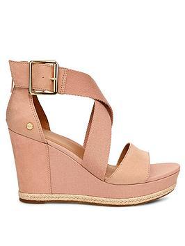 ugg-calla-wrapped-strap-buckle-wedge-heels-nude