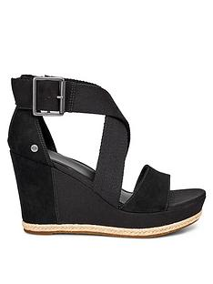 134901fc12f5 UGG Calla Wrapped Strap Buckle Sandal Wedge Shoes - Black