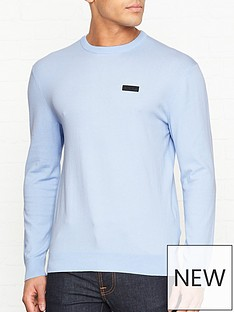 hugo-san-claudio-crew-neck-jumper-blue