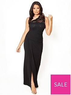 0d314f0651dd1c Sistaglam Loves Jessica One Shoulder Lace Maxi Dress - Black