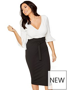 sistaglam-loves-jessica-wright-2-in-1-wrap-top-bodycon-midi-dress-blackwhite