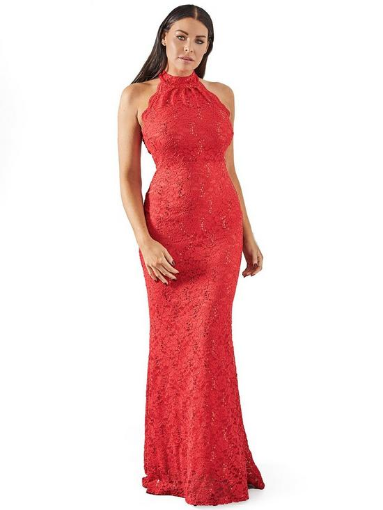 6a374702bc Sistaglam Loves Jessica Wright Halter Neck Lace Maxi Dress - Red ...