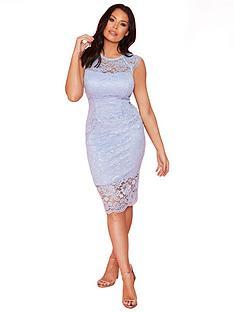 2ceb979869 Sistaglam Loves Jessica Wright Lace Bodycon Midi Dress - Ice Blue