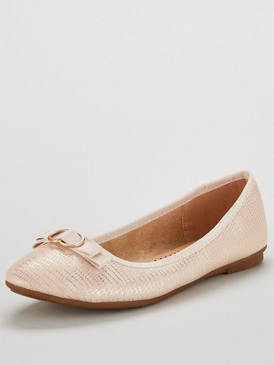 da237b7085a Wallis Bow Snake Print Trim Ballerina Pump Shoes - Cream