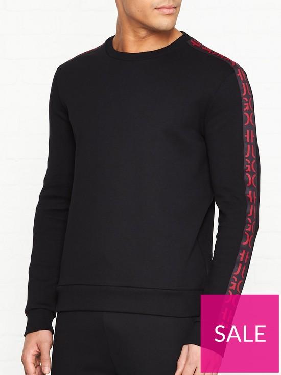 3e718de8c HUGO Doby Arm Logo Crew Sweatshirt - Black | very.co.uk