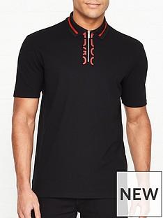 hugo-dolmar-placket-logo-polo-shirt-black