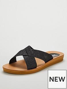 wallis-cross-strap-flexi-sole-sliders-black